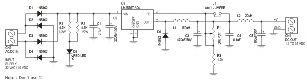 1 2v To 35v Adjustable Power Supply Using Lm2576 Adj Step
