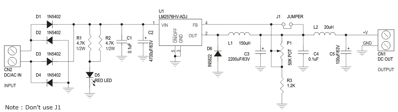 1.2V to 57V 3Amps Output Adjustable Power Supply Using LM2576HV-ADJ (3)