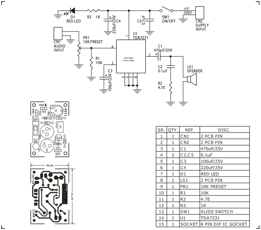 1.6W MONO AUDIO AMPLIFIER  USING TDA7231 (2)