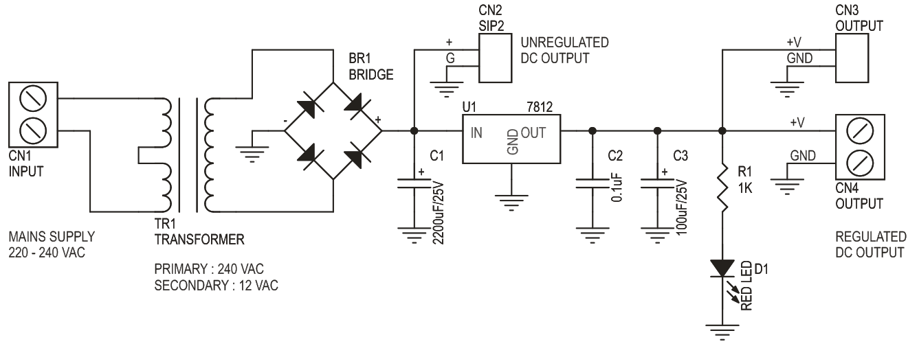 12V 350mA Power Supply Using On Board Transformer (2)