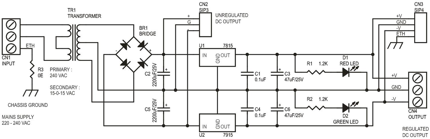 15V 350mA Symmetrical Regulated Power Supply Using On Board Transformer and 7815-7915 Regulators (2)