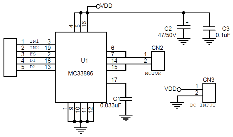 5a dc brushed motor driver using lm33886