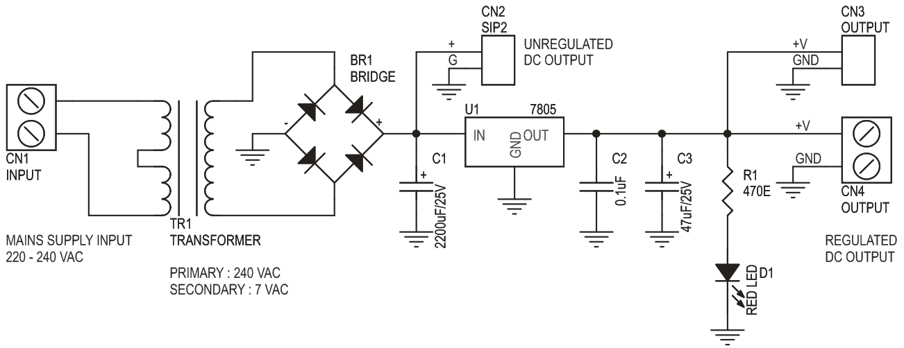 5V 1A Regulated Power Supply with On Board Transformer (3)