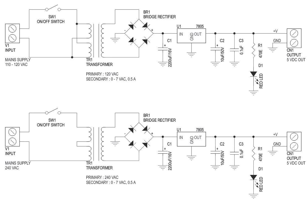 5V 500mA Regulated Liniar Power Supply with On Board Transformer (3)