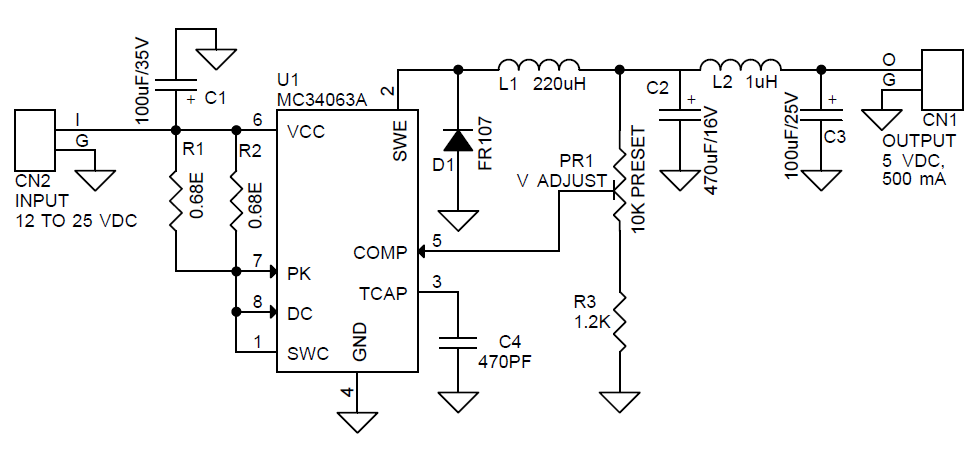 5v 500ma step down dc-dc converter using mc34063