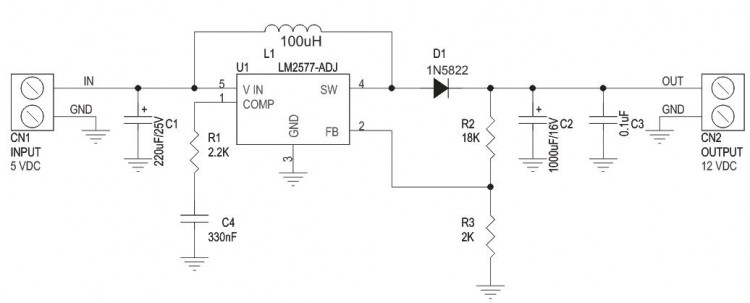 5V TO 12V Step Up DC-DC Converter Using LM2577ADJ (3)