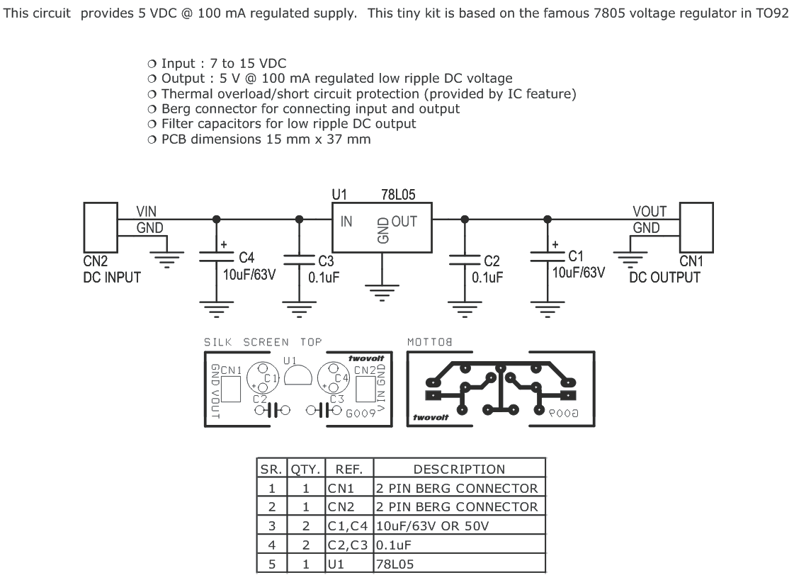 78l05 Voltage Regulator Circuit Just Another Wiring Diagram Blog Dc 5v Mini Module With Pcb Layout Rh Twovolt Com 7805 Pdf Capacitors