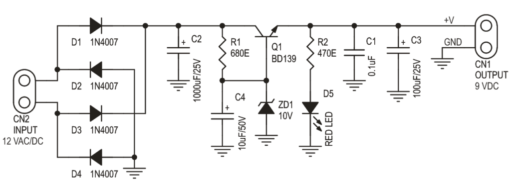9v zener diode and transistor based regulated power supply circuit rh twovolt com 5.1 V Zener Diode Circuit A Circuit for Zener Diode Polarity Marking