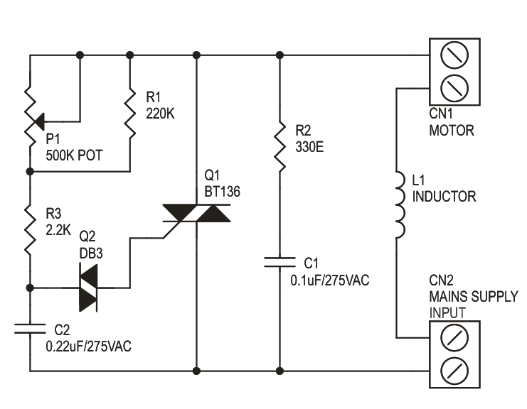 ac motor or fan speed controller using traic