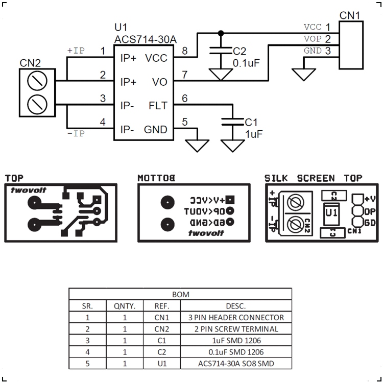 acs714-30a current sensor module schematic