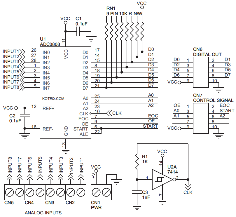 adc0808 circuit diagram