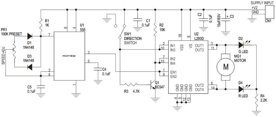 DC MOTOR SPEED AND DIRECTION CONTROLLER USING L293 AND 555 TIMER (4)