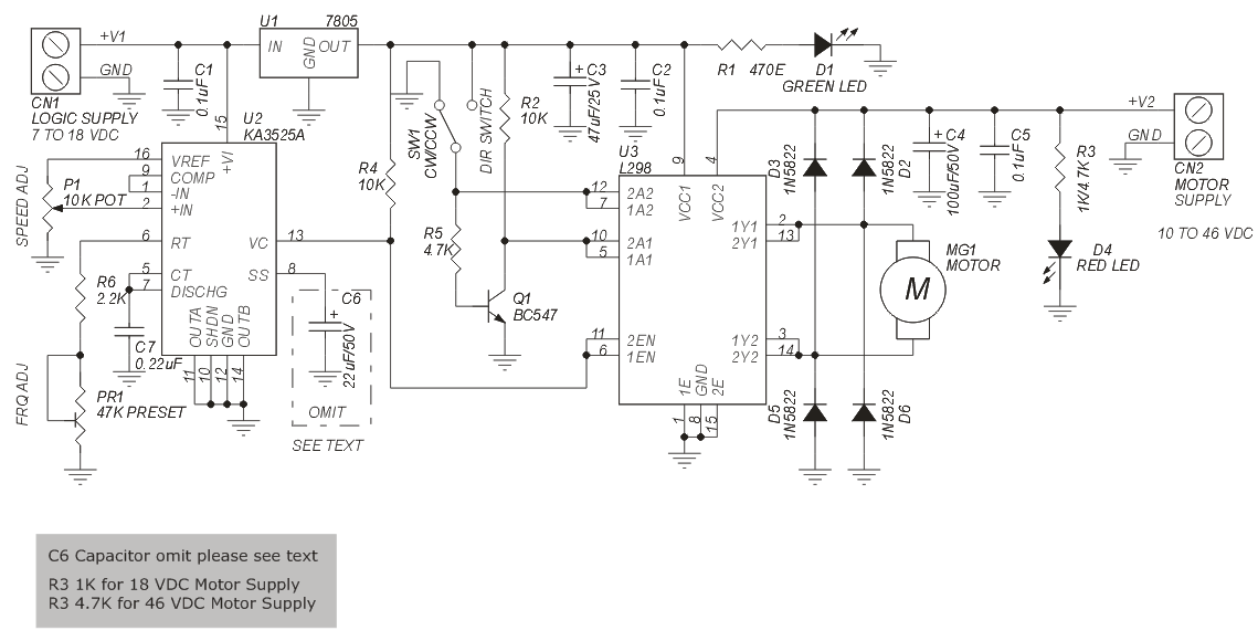 pwm dc motor speed and direction controller using l298 and