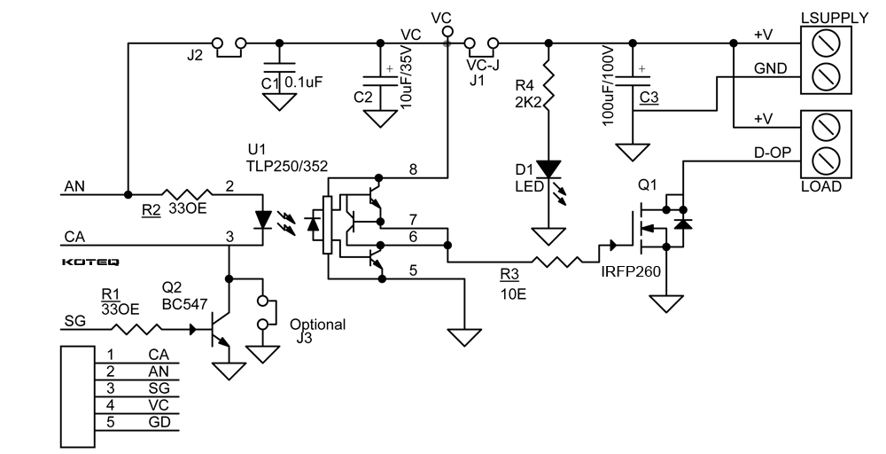 DC Solid State Relay Using MOSFET Optically Isolated Gate Driver