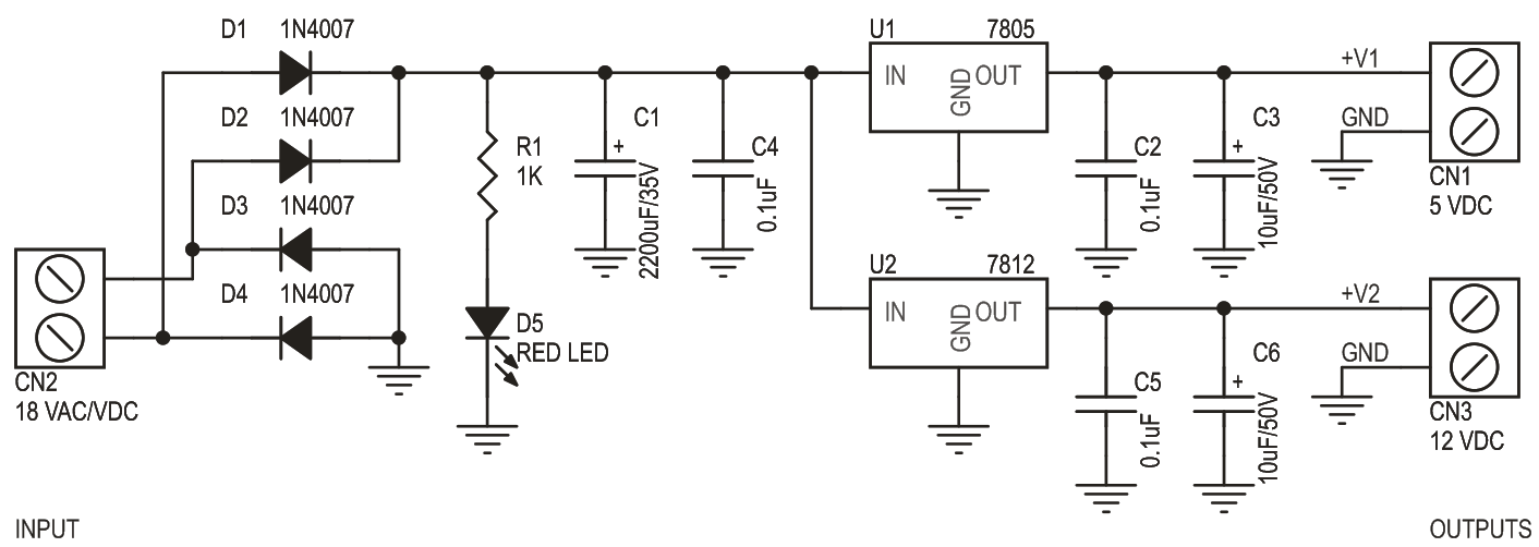 5V 12V DC Dual Output Power Supply Using LM7805 LM7812