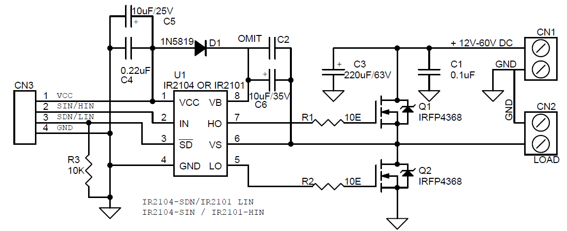 high current half-bridge driver using ir2101  ir2104 gate driver