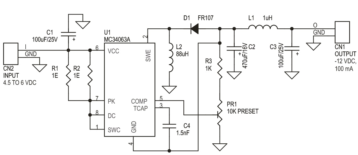 INVERTING OUTPUT SWITCHING REGULATOR 5V TO -12V OUTPUT (3)