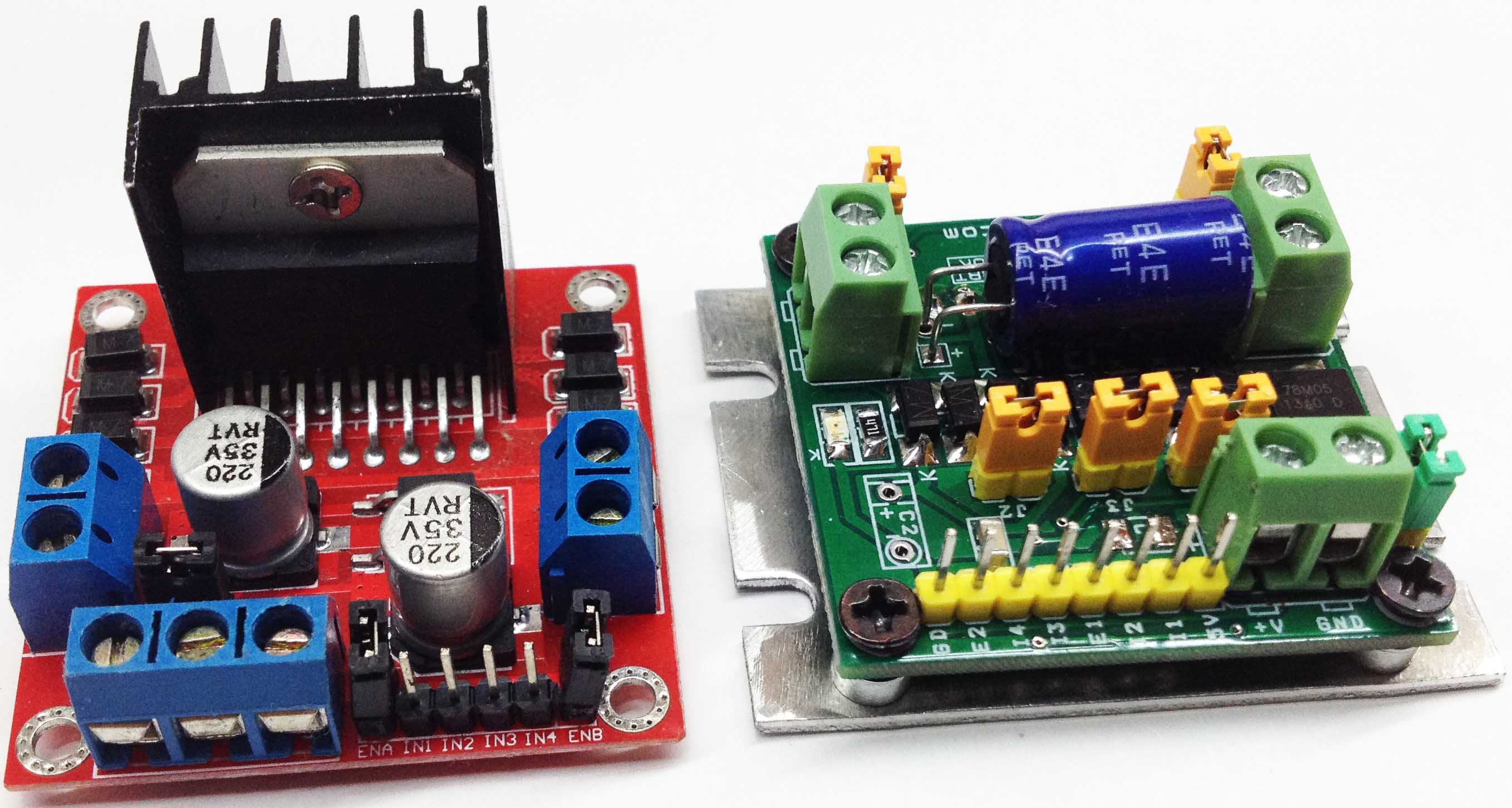 L298 DC MOTOR DRIVER BOARD WITH TWO OR SINGLE MOTOR DRIVE OPTION AND ON BOARD 7805 REGULATOR (6)