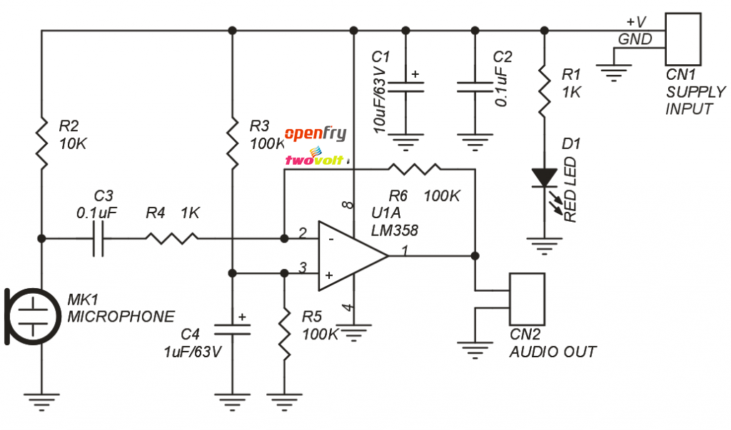 microphone pre-amplifier based on lm358