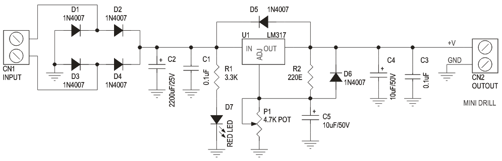 MINI DRILL SPEED CONTROLLER USING LM317 (3)