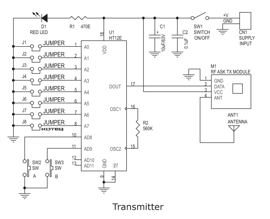 Ht12e Circuit Great Installation Of Wiring Diagram Fm Transmitter Using Transistors Gadgetronicx Rf Remote Based Dc Motor Driver Ht12d Ideas Rh Twovolt Com