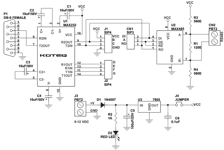 RS232 to RS485 Module USING mAX 485 MAX232 2 rs232 to rs 485 module schematic using max232 & max485 circuit  at webbmarketing.co