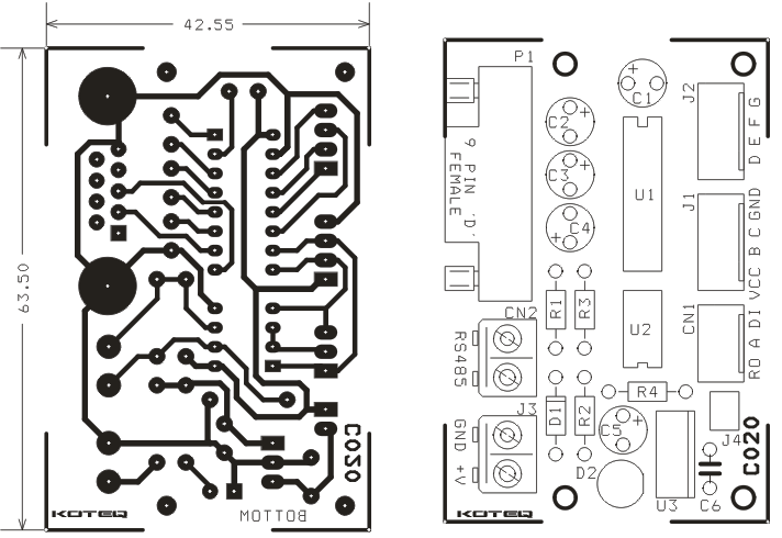 rs232 to rs 485 module schematic using max232  u0026 max485