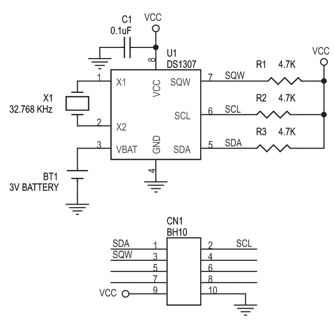 RTC MODULE SCHEMATIC USING DS1307 (3)