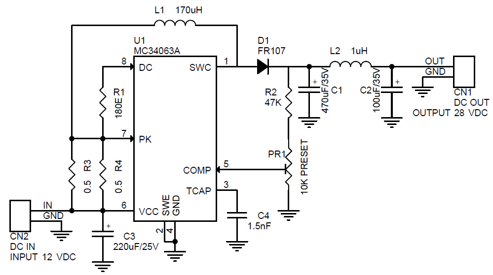 Step Up DC-DC Converter 28V Output from 12V DC IN Using MC34063 (3)