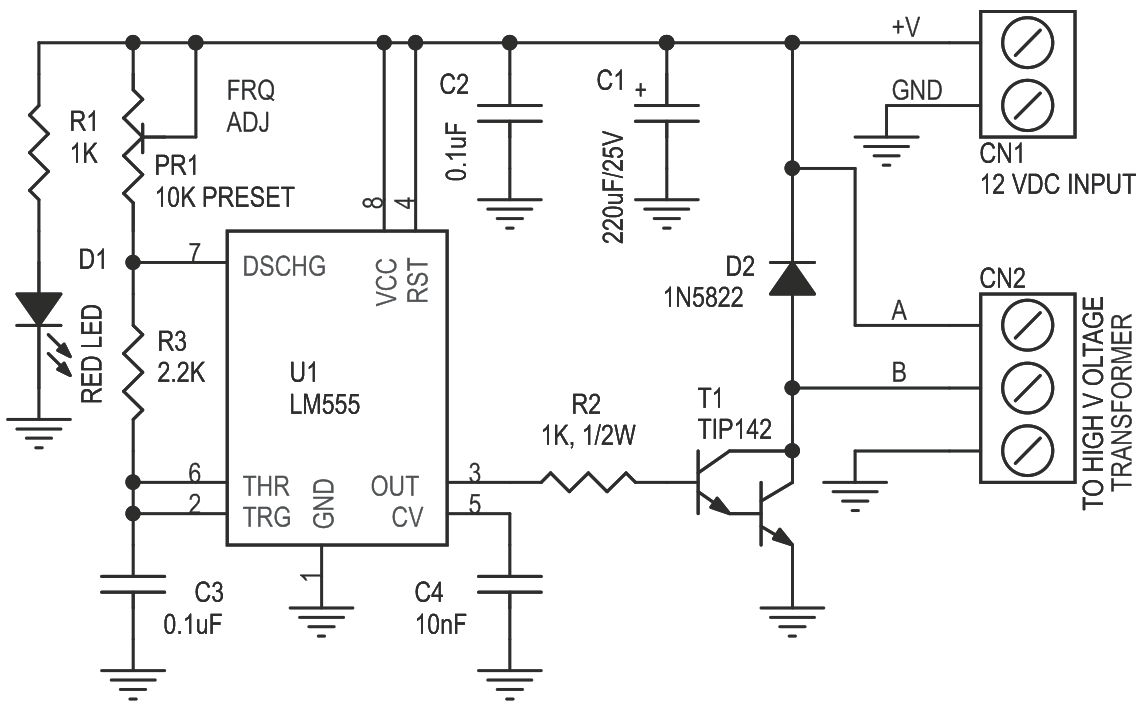 Tesla Coil Eht Driver Using 555 Timer Ic Circuit Ideas I Schematic Diagram Lm555 4