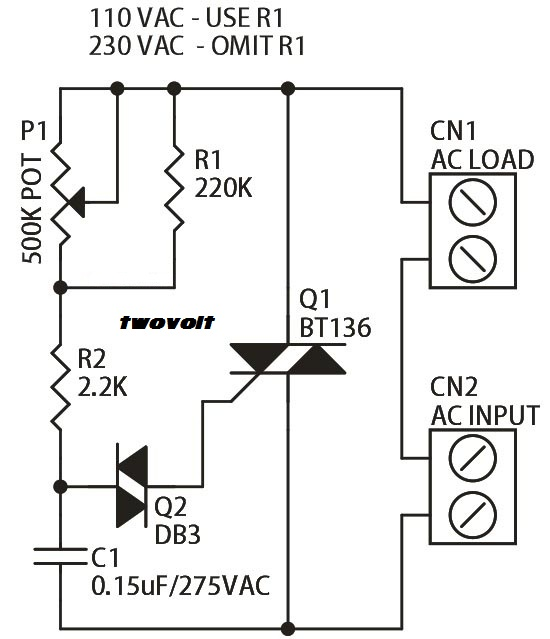 halogen lamp dimmer using traic
