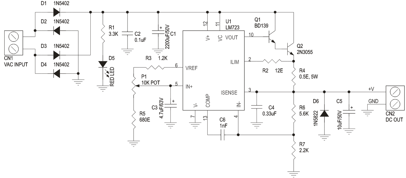 Variable Power Supply 2 6V to 24V DC 2Amps Using LM723