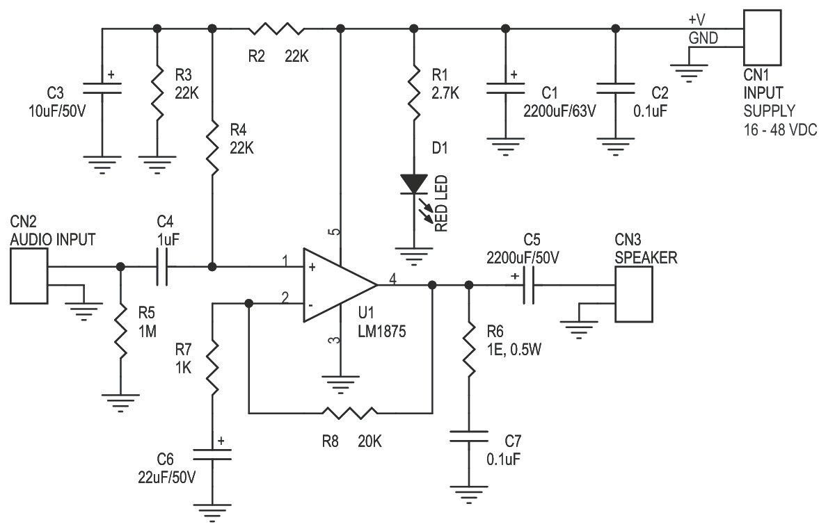 20 W AUDIO AMPLIFIER USING LM1875 (3)