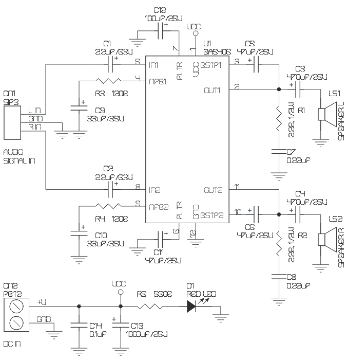ba5406 based 5w stereo audio amplifier circuit archives circuit rh twovolt com