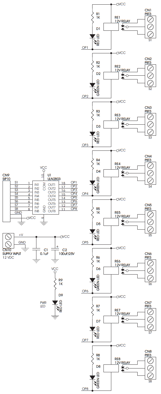 8 Channel Relay Driver Using ULN2803 Sugar Cube Relay Circuit