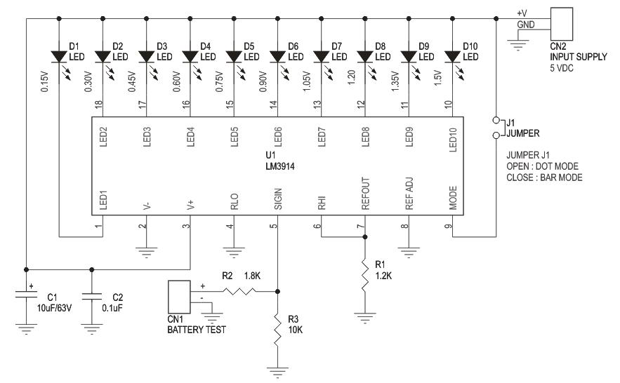 Lm3914 Battry Voltage Monitor Archives Circuit Ideas I