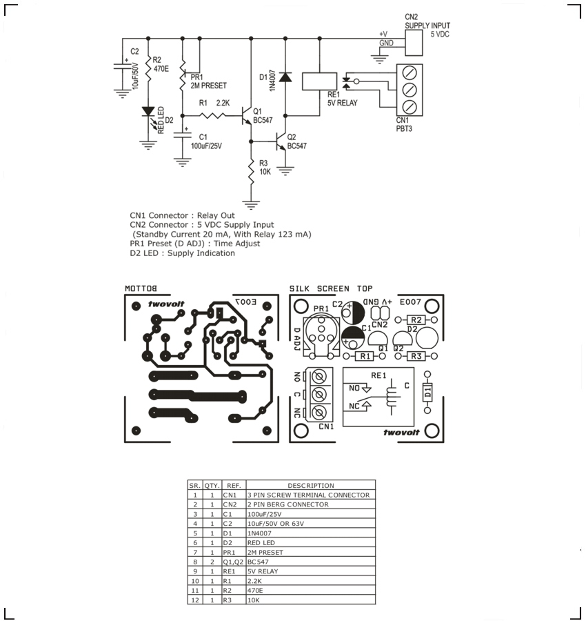 Delay On Timer Using BC547 Transistor Relay Circuit Ideas I