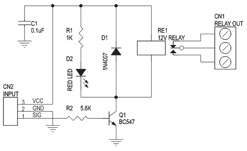 One Channel Relay Driver Using BC547 Transistor Circuit Ideas I