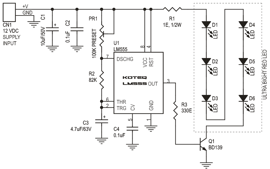 warning flasher led based lights using 555 timer ic with