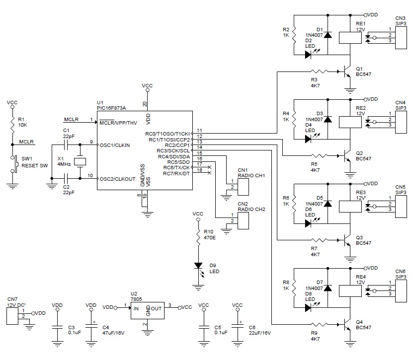 4 Channel RC Signal to Switch Using PIC16F873 & 4 Relay - Circuit ...