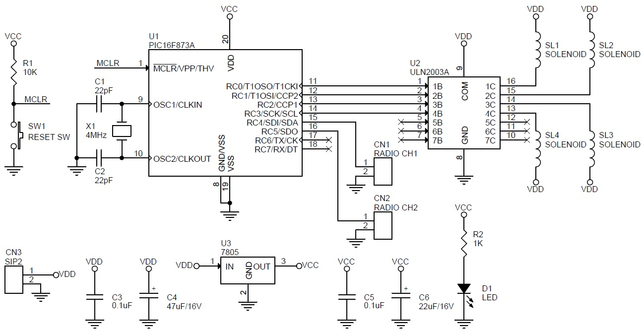 4 Channel Rc Signal To Solenoid Lamp Driver Circuit Using Pic16f873 Solid State Relay Wiring Diagram Light Bulb Switch