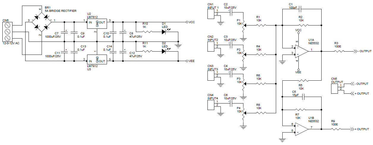 4 Channel Audio Mixer Balance Output Using NE5532 - Circuit ... on