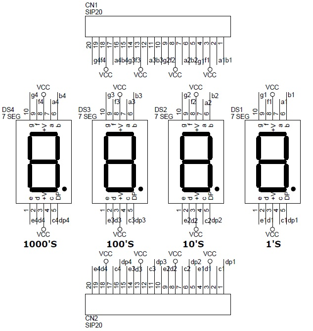 4 Digit 7 Segment 0.5 Inch Display Circuit & PCB Layout - Circuit ...