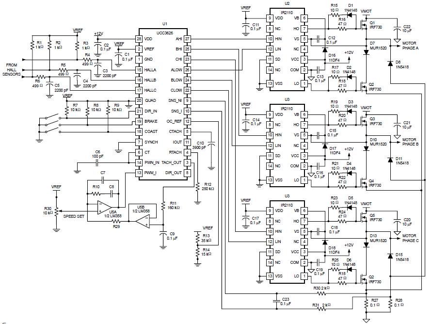 brush-less motor pr-driver using ucc3626 circuit