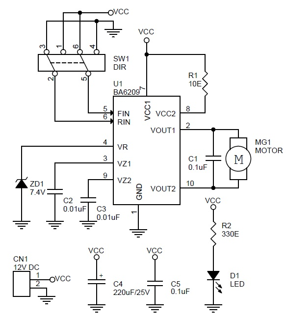 dc motor direction controller using ba6209