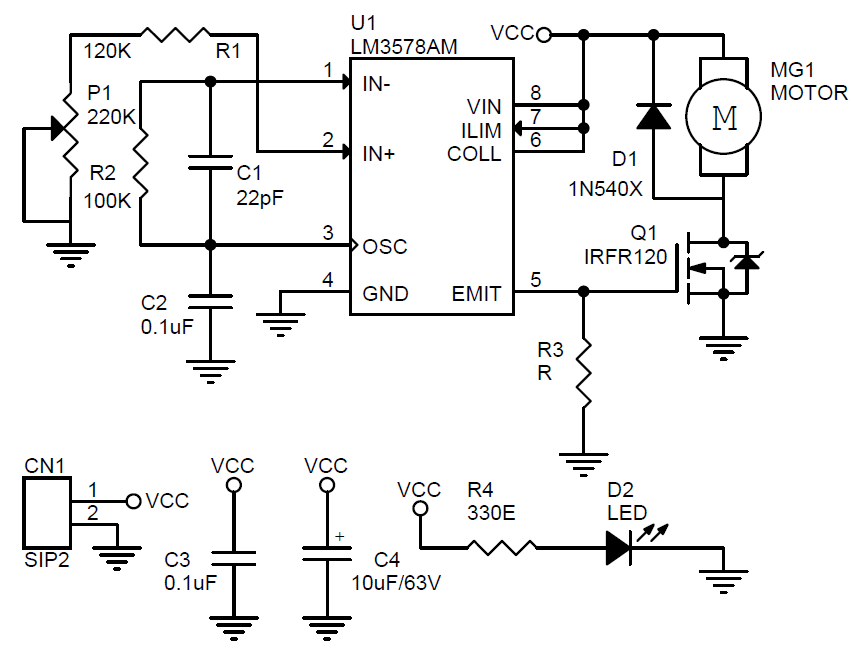 dc motor speed controller using lm3578  u0026 mosfet