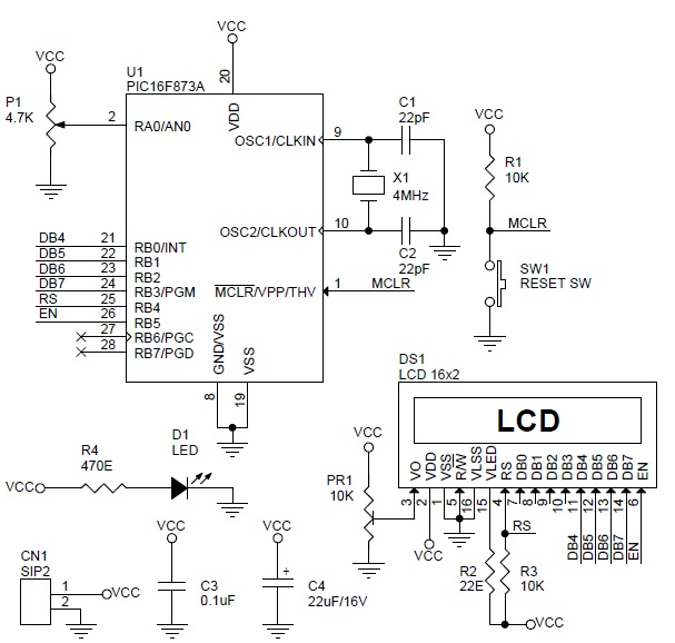 digital-voltage-meter-using-pic16f673-lcd-range-0-to-5v-schematic