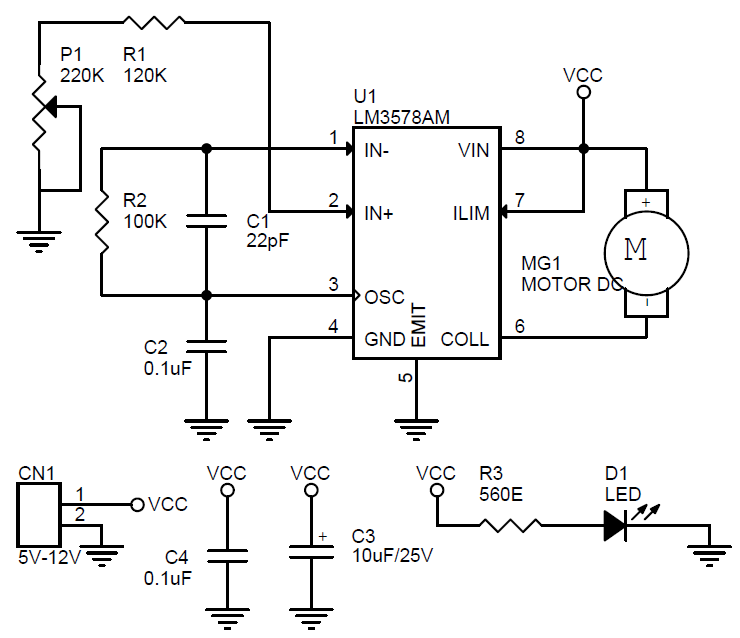 tiny dc motor speed controller using lm3578