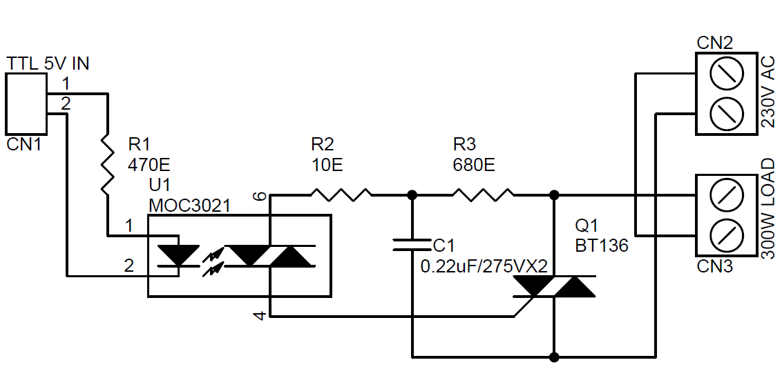 solid state relay using moc3021  u0026 bt136 traic circuit