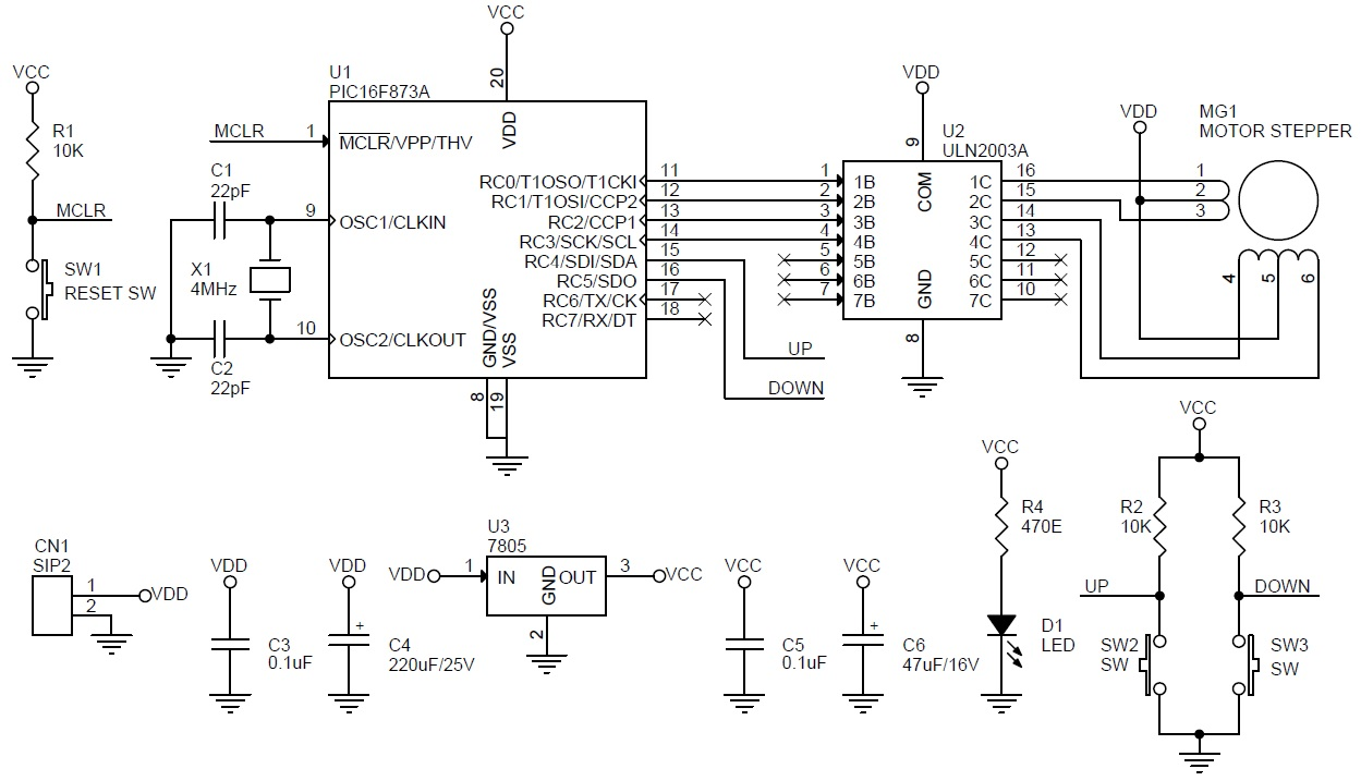 Stepper motor controller driver schematic using pic